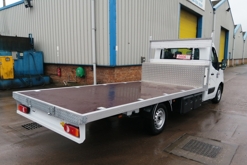 platform body, low build, hot tub transport, tool box,