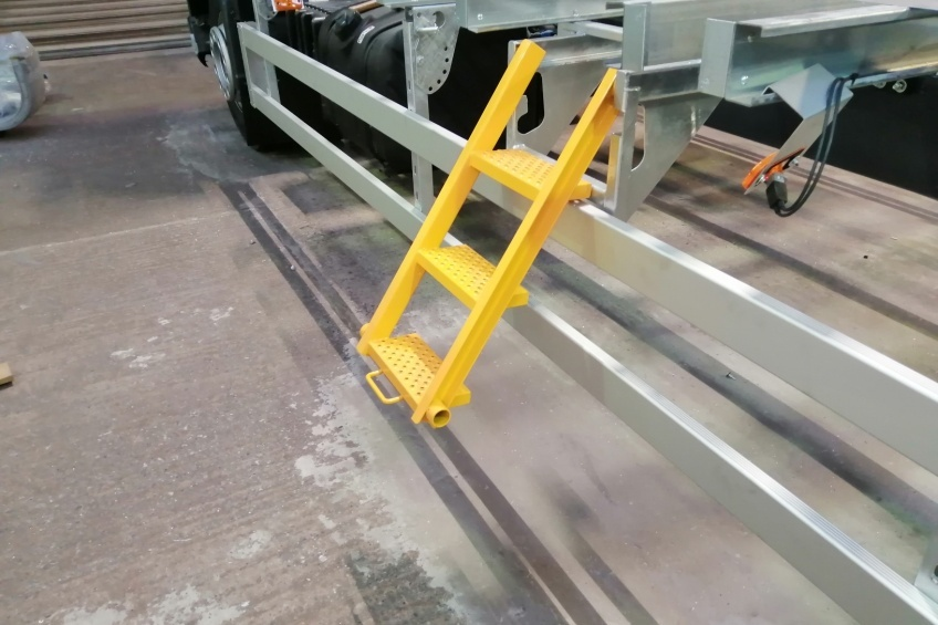 our work, access step, pull out platform step, body step, access