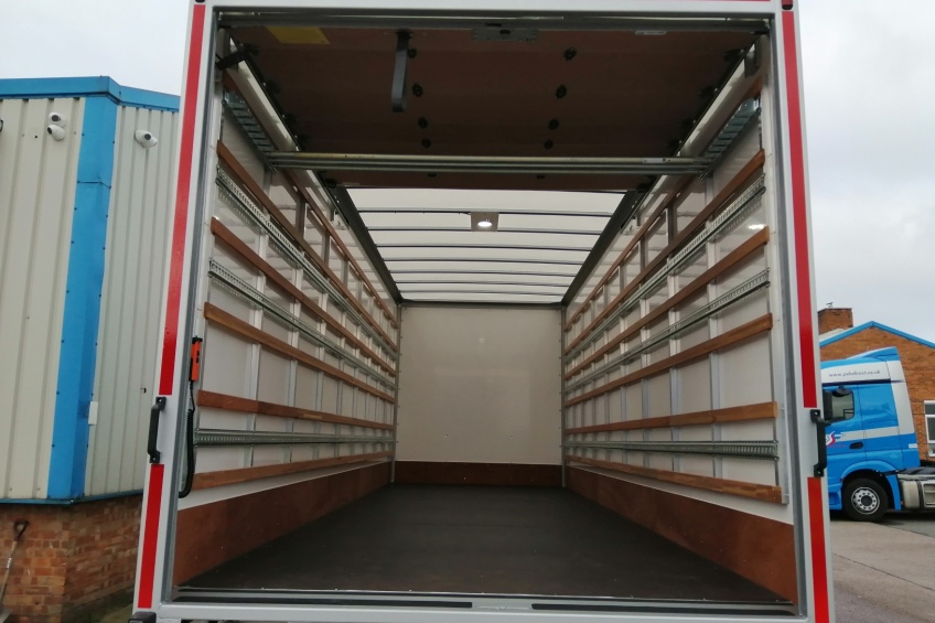 GRP box body, tuck under tail lift, tuck away tail lift, scania, roller shutter door, load lock, tie rails