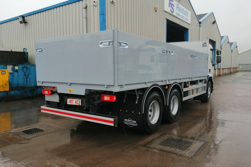 aluminium dropside, brick and block, hard wood floor, paint, tool box, volvo