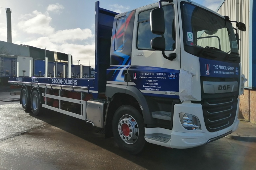 aluminium dropside, steel carrier, daf, paint, rub rail, hardwood batons, small drop sides,